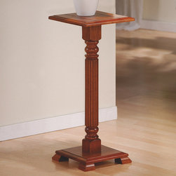 """Monarch - Dark Oak Plant Stand - With traditional country styling and dark oak finish this plant will showcase your favorite plants or display pieces for years to come. Constructed from solid wood with turned post legs, this accent piece is sure to add warmth to any room in the house.;Features: Color: Dark Oak;Weight: 13 lbs.;Dimensions: 12""""L x 12""""W x 28""""H"""