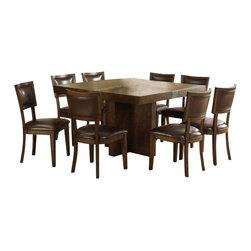 Riverside Furniture - Riverside Furniture Belize 9 Piece Square Dining Table Set in Distressed Pine - Riverside Furniture - Dining Sets - 175817599PCPKG