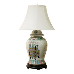China Furniture and Arts - Hand Painted General Jar Porcelain Lamp With Silk Shade - Delicately hand painted porcelain lamp. The center object is an ancient Chinese vessel called Ding, which was used two - thousand years ago for holding incense. With beautiful color this lamp fits any decorating style. Max 75-watt. (Bulb not included)