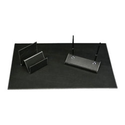 Bey-Berk - Krug Black Leather 3-Piece Desk Set - D1300-A3 - Shop for Desk and Drawer Organizers from Hayneedle.com! A leather desk pad forms a soft base that makes writing in longhand comfortable. Keep envelopes and letters organized with the modern letter rack. The double pen stand holds two writing instruments upright and can hold one more in its trough. It also works to smartly hold business cards. Order this sophisticated three-piece set and make an executive atmosphere on your desk.