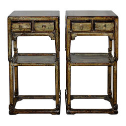 Sage Green Side Table - Sage green lacquered tea tables with simple spandrels, shelf, scroll feet and bottom support bars. Shanxi, China circa 1880s. Sold separately at $2650 each.