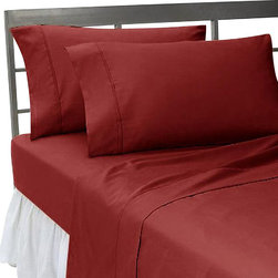 SCALA - 300TC 100% Egyptian Cotton Solid Burgundy Twin Size Sheet Set - Redefine your everyday elegance with these luxuriously super soft Sheet Set . This is 100% Egyptian Cotton Superior quality Sheet Set that are truly worthy of a classy and elegant look. Twin Size Sheet Set includes:1 Fitted Sheet 39 Inch(length) X 75 Inch(width) 1 Flat Sheet 66 Inch(length) X 96 Inch(width).2 Pillowcase 20 Inch(length) X 30 Inch (width