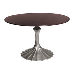 Kathy Kuo Home - Silver Fluted Base Walnut Hollywood Regency Dining Table - Small - While this table packs enough sophistication and glamor to very easily work into a Hollywood Regency look, there are other angles this noteworthy piece could also embrace.  We can see it in a Parisian Art Nouveau apartment or even an eclectic/exotic Art Deco space.  However you use it, style and imagination take flight.