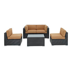 """LexMod - Camfora 5 Piece Outdoor Patio Sectional Set in Espresso Mocha - Camfora 5 Piece Outdoor Patio Sectional Set in Espresso Mocha - Simple and serviceable, the Camfora is a great choice for any backyard. Classically styled furniture crafted out of all weather materials meant to last, this set will please year after year. Enjoy some quality time in the fresh air with the Camfora set. Set Includes: One - Camfora Outdoor Wicker Patio Coffee Table One - Camfora Outdoor Wicker Patio Left Arm Section One - Camfora Outdoor Wicker Patio Right Arm Section Two - Camfora Outdoor Wicker Patio Armless Sections Synthetic Rattan Weave, Powder Coated Aluminum Frame, Water & UV Resistant, Machine Washable Cushion Covers, Easy To Clean Tempered Glass Top, Ships Pre-Assembled Coffee Table Dimensions: 35.5""""L x 20""""W x 16""""H Left Section Dimensions: 33.5""""L x 29.5""""W x 27.5""""H Right Section Dimensions: 33.5""""L x 29.5""""W x 27.5""""H Armless Section Dimensions: 33.5""""L x 31.5""""W x 27.5""""H Seat Height: 12""""HBACKrest Height: 27.5""""H Armrest Dimensions: 4""""W x 27.5""""H Cushion Depth: 4""""H Overall Product Dimensions: 126""""L x 65""""W x 27.5""""H - Mid Century Modern Furniture."""