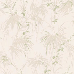 Brewster Home Fashions - Nessa Champagne Satin Leaf Motif Wallpaper Bolt - As captivating as a tropical rainforest this botanical wallcovering brings coastal detail to walls with a fresh leaf motif fashioned in a chic satin finish.
