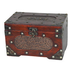 Small Treasure Chest - Decorative trunk that is great for storage and decoration Great Tressure Box Small wood trunk Old Fashioned hardware adds to antique look Decorated with faux leather Our warm and welcoming steamer trunk brings back days of old time. Remember how excited you are when you were a little kid to look into your grandma's old chest, our decorative trunks will bring back those memories and help you create some new ones too. Our hope chest boxes are all handcrafted and tailored to enhance the existing decor of any room in the home. Great to use for your very own treasure chest!