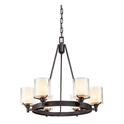 Troy Lighting - Arcadia Chandelier - Arcadia Chandelier features Clear outer and Ribbed Provence inner glass with a French Iron finish. Available in two sizes. Also available in 1, 2, 3, and 4 light bath bar, Mini Pendant, and Island Pendant. 60 watt, 120 volt A15/Candelabra incandescent bulbs are required, but not included.  Medium: 27 inch width x 26 inch height. Large: 39.75 inch width x 33.25 inch height.