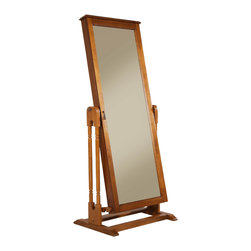 Homelegance - Homelegance Reflection II Cheval Mirror with Jewelry Storage in Oak - The reflection II collection is a functional and stylish accent to your bedroom decor. If dressing for work or a night out on the town, the full-length, adjustable tilt mirror not only reflects, it provides discrete storage for your favorite jewelry pieces. With a pull of a knob, the mirror opens to reveal necklace hooks, vertical plush ring display, earring racks and tray storage. Featured in two finishes _ oak and cherry_ the collection is a perfect fit in your home.