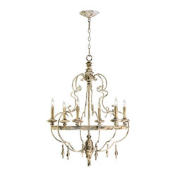 Cyan Design - Cyan Design DaVinci Traditional 6-Light Chandelier X-06140 - With European influence, this chandelier displays classic and timeless elegance at its finest. The well-crafted wrought iron frame is a hand-painted wood finished structure with highlights of Persian white. The Cyan Design DaVinci Traditional chandelier features graceful contours in a curving formation. It surrounds a room with charming ambient lighting.