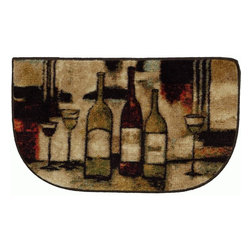 Mohawk Home - Mohawk New Wave Wine And Glasses Beige Country Kitchen 1'8 x 3'9 Rug (10291) - This charming accent rug featuring wine bottles and glasses will brighten your kitchen decor.  In hues of red and black accented with gold this design is trendy and fun.  Printed on the same machines that manufacture one of the world