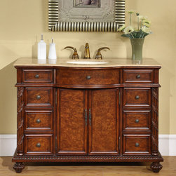 Silkroad Exclusive - Silkroad Exclusive Marble Stone Top 48-inch Single Sink Cabinet Bathroom Vanity - This charming Early American Style single seat cabinet vanity offers contrasting colors giving this vanity a knotty cherry wood appearance. Featuring a solid travertine countertop and classical carving on legs and along the edges.