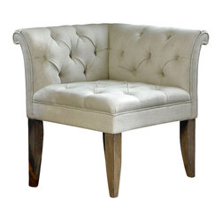Tahtesa Corner Chair - When you need just the right reading chair for your guest bedroom or the perfect seating for a walk in closet, the Tahtesa chair is an excellent choice. Classic lines and Chesterfield tufting marry pleated roll arms in a bright, gorgeous ecru linen blend that is set on shapely and robust tapered legs of a fine wood grain that has been hand finished and hand distressed. Timeless and elegant this is a chair that embodies grace and beauty.