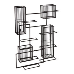 Holly & Martin - Holly & Martin Wisegrid Wine & Cork Wall Cage - Allow us to feed your cork craft obsession with the gorgeous Wisegrid wall cage. This modern wall sculpture features a geometric design of interconnecting rectangles in a sleek black finish. Displays eight of your favorite wine bottles on fold out holders and showcases four cork cages for ample cork storage.