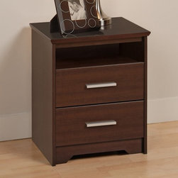Coal Harbor 2 Drawer Tall Nightstand with Open Shelf - Espresso - Maybe you should just move that old nightstand into the kid's room and keep the Coal Harbor 2 Drawer Tall Nightstand with Open Shelf – Espresso for yourself. This pleasing accessory piece has a body of composite wood that's covered in a wood-grain laminate with a rich brown color. A bit of open storage sits just above a pair of deep drawers, giving you room for all your must-have bedside needs. Each drawer has sides of solid hardwood that are treated with a lacquer finish that you can enjoy while the drawer moves smoothly on metal guides with safety-stops. Matte nickel pulls, beveled edges, and flush drawer-faces make this nightstand a pleasing modern addition to any room.About Prepac ManufacturingPrepac is a successful designer and manufacturer of functional and stylish RTA (ready to assemble) home furniture. They have been manufacturing state-of-the-art home furnishings and storage products in the heart of the forest-rich West Coast since 1979.To ensure that customers receive the highest quality products, Prepac's design, engineering, production, testing and packaging are all performed in-house. Each component of every product is carefully engineered to be produced with minimal handling, without compromising quality, function and value. Prepac's state-of-the-art materials management system tracks every component from cutting through to packaged goods, inventory support, and fulfillment to final delivery.Most of Prepac's RTA products are made from a combination of engineered woods. Engineered Wood is a mixture of high quality hard and soft wood materials, which generally come from the surplus of original lumber processing. These materials are bonded together with a synthetic resin, in a process under high heat and pressure to make a very stable, environmentally friendly product. The result is dense, strong panels, which are then laminated with durable, attractive finishes.