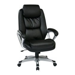 Office Star - Office Star ECH Series Eco Leather Chair with Headrest in Black - Office Star - Office Chairs - ECH89186EC3 - Executive Eco Leather Chair with Padded Arms Headrest and Coated Base Featuring Coil Spring Seating Comfort. Headrest. One Touch Pneumatic Seat Height Adjustment. Locking Tilt Control with Adjustable Tilt Tension.