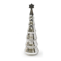 """Go Home Ltd - Mercury Tree by Go Home - This sweet Christmas tree with its etched glass details an antique silver mercury finish will surely lighten your table decor. Try upon a cake stand and surround with loose glass ornaments. (GH) 5.5"""" diameter x 24"""" high"""
