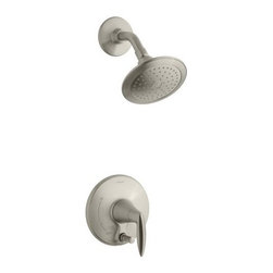 Kohler - Kohler K-T45108-4-BN Vibrant Brushed Nickel Alteo Alteo Single Handle - Alteo Single Handle Pressure Balanced Tub and Shower Valve Trim Less Valve with Metal Lever Handle, Single Function Shower Head, and Push Button DiverterWith sleek, confident curves inspired by nature, the Alteo faucet exudes a self-assured simplicity. Designed to deliver exceptional quality at an approachable price, the Alteo features a high arched spout and fluid design that complements a wide range of décor.MasterClean spray nozzles to prohibit mineral build-up for easy cleaningIntended for use with Rite-Temp or HiFlow Rite-Temp valvesTrim only, requires valve to complete installationPremium construction ensures durability and reliabilityKohler finishes resist corrosion and tarnishing, exceeding industry durability standards over two timesCoordinates with Alteo faucets and accessories