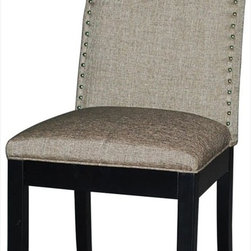 """Chintaly Imports - Macy Upholstered Back Side Chair in Matt Black - Set of 2 - Nailhead Accent Back. Solid Wood Legs. Very Comfortable Seat. CA Fire Retardant Foam. Easliy Assembled.; Nailhead accent back; Solid wood legs; CA fire retardant foam; Easily assembled; Dimensions:19.69""""W x 17.72""""D x 39.37""""H"""