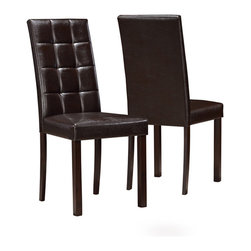 Monarch Specialties - Monarch Specialties I 1171 Dark Brown Leather-Look 38 Inch Dining Chair [Set of - Create a casual fashion statement to your dining area with these dark brown, leather-look side chairs. These comfortably padded tufted chairs with square post legs will beautifully compliment any dining area.  Dining Chair (2)