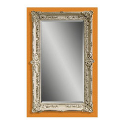 Bassett Mirror - Floor Mirror in Floral Frame & Antique White - Rectangular shape. Leaning mirror. Decorative mirror. 43 in. L x 69 in. H (77 lbs.)