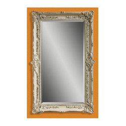 Bassett Mirror - Floor Mirror in Floral Frame & Antique White - Rectangular shape. Leaning mirror. Decorative mirror. 43 in. L x 69 in. H (77 lbs.)