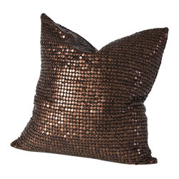 Studio A - Copper Beaded Pillow - Copper Metallic Beads on both sides.  Shell: 100%  Cotton Lining: 100%  Cotton Insert: Down  Made in USA.