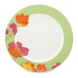 Lenox - Lenox Floral Fusion Kiwi 11 1/2-Inch Dinner Plate - A pretty floral pattern in dazzling summer-inspired colors spills over the rim into the center of this pretty dinner plate.