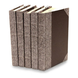 Bespoke Books Grey Suit - Set of 5 - You can, indeed, judge a book by its cover. A visually striking set of decorative tomes, the Bespoke Books - Grey Suit - Set of 5 make an impressive graphic statement when placed upon a shelf in an eclectic great room, a window ledge in a home office, a fireplace mantel embellished with objects d'art, or glass-fronted armoire in a personal library.