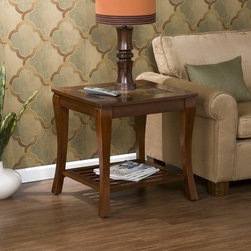 """Wildon Home � - Overbrook End Table - Elegant styling and character bursts from this collection. A magnificent brown cherry finish accents the wood grain and perfectly complements the natural earth tones of the faux slate tile top. Exquisite stone texture adds an amazing rustic feel to this traditional and sophisticated piece. The slat shelf on the bottom creates added visual interest that creates an open feeling. Such a stunning table is sure to be a welcome addition to your home. Features: -Natural faux slate tile top.-Bottom slat storage shelf.-Rubberwood construction.-Brown Cherry finish.-Overbrook collection.-Collection: Overbrook.-Distressed: No.-Top Finish: Cherry.-Base Finish: Cherry.-Powder Coated Finish: No.-Gloss Finish: No.-Base Material: Wood.-Top Material: Wood.-Number of Items Included: 1.-Nesting Tables: No.-Non-Toxic: No.-UV Resistant: No.-Scratch Resistant: No.-Stain Resistant: No.-Lift Top: No.-Storage Under Table Top: No.-Drop Leaf Top: No.-Magazine Rack: No.-Built In Clock: No.-Drawers Included: No.-Exterior Shelves: Yes -Number of Exterior Shelves: 1.-Adjustable Exterior Shelves: No..-Cabinets Included: No.-Glass Component: No.-Legs Included: Yes -Number of Legs: 4..-Casters: No.-Lighted: No.-Stackable: No.-Adjustable Height: No.-Outdoor Use: No.-Swatch Available: No.-Commercial Use: No.-Recycled Content: No.-Eco-Friendly: No.-Product Care: Wipe clean with a dry cloth.-Built In Outlets: No.-Powered: No.Specifications: -FSC Certified: No.-EPP Compliant: No.-ISTA 3A Certified: No.-ISTA 1A Certified: No.-General Conformity Certificate: No.-Green Guard Certified: No.-ISO 9000 Certified: No.-ISO 14000 Certified: No.-UL Listed: No.Dimensions: -Overall Product Weight: 36 lbs.-Overall Height - Top to Bottom: 22.25"""".-Overall Width - Side to Side: 24.25"""".-Overall Depth - Front to Back: 24.25"""".-Table Top Width - Side to Side: 24.25"""".-Shelving: -Shelf Width - Side to Side: 24.25"""".-Shelf Depth - Front to Back: 24.25""""..-Legs: Yes.Assembly: -Assembly Required"""