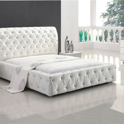 Refined Wood High End Modern Furniture feat. Light - Elegant platform monroe modern bedroom set in white leatherette. The Monroe platform bedroom set will add an air of distinction and grace to your bedroom and will blend with any contemporary home decor.
