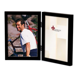 "Lawrence Frames - 4x6 Hinged Double Black Wood Picture Frame - Gallery Collection - This wood picture frame is the same you will find in studios and galleries and is the perfect frame for simply and elegantly framing any image.  It is a high quality wood frame joined in the corners with a ""spline"" joint.  The molding is approximately 1 2 "" and is the perfect frame to use for a wall gallery.  This picture frame comes individually boxed, and includes high quality black wood backing with hangers for wall mounting."