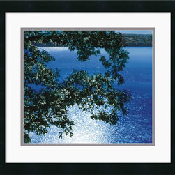 Amanti Art - Silver Light, 2006 Framed Print by Alice Dalton Brown - Deep, rich blues are showcased in this peaceful work by Alice Dalton Brown. Place this art print anywhere where you wish a window to a perpetual view of a sun dappled lake on a pristine summer day.