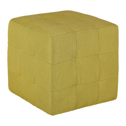 Cortesi Home - Braque Citron Green Tufted Cube Ottoman - The Braque Citron cube ottoman with its mid-century color is an easy way to update the look of your home. It is upholstered in a yellow-green fabric with square tufting, it also features plastic non marking feet. Create a matching pair with our Chicco Citron accent chair.