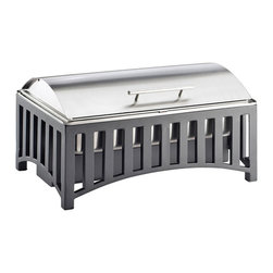 Cal Mil - 21.625W x 13.625D x 15.25H Mission Chafer with Cover 1 Ct - This Mission chafer adds a bold and new look to any party buffet or foodservice event. This chafer holds up to 5 cans of fuel at a time and features a roll top cover to keep your warm foods fresh until serving. It is also designed to assemble and come apart easily making cleaning and transportation easy and quick