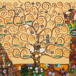 "overstockArt.com - The Tree of Life, Stoclet Frieze, 1909 - Gustav Klimt - 24"" X 36"" Oil Painting On Canvas Hand painted oil reproduction of a famous Klimt painting, The Tree of Life, Stoclet Frieze. The original masterpiece was created in 1909. Today it has been carefully recreated detail-by-detail, color-by-color to near perfection. Gustav Klimt (1862-1918) was one of the most innovative and controversial artists of the early twentieth century. Influenced by European avant-garde movements represented in the annual Secession exhibitions, Klimt's mature style combines richly decorative surface patterning with complex symbolism and allegory, often with overtly erotic content. This work of art has the same emotions and beauty as the original. Why not grace your home with this reproduced masterpiece? It is sure to bring many admirers!"