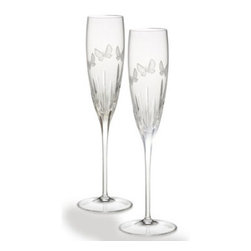 Waterford - Waterford Butterfly Toasting Flutes Pair - Waterford Butterfly Toasting Flutes Pair