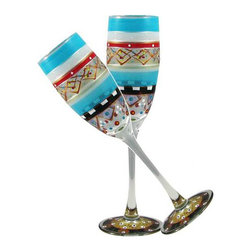 Golden Hill Studio - Mosaic Carnival Champagne Glasses Set of 2 - Cheers! The joyful artwork on these hand-painted champagne glasses is as delicate and effervescent as your chosen bubbly. And since each glass is made in the United States, each one is also a toast to American craftsmanship.