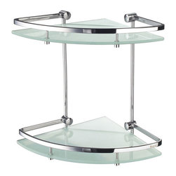 Outline Collection Corner Glass Shelf - Two Shelves - Polished Chrome - This corner glass shelf is the perfect choice when trying to make the most of your bathroom space. Two shelves add storage for bathroom accessories and the entire unit mounts easily into an unused corner.