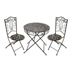 Alpine Corporation - Bistro Set (2 Chairs and 1 Table) - With its size perfect for intimate corners or along walkways, no wonder this bistro set is great for enjoying a cup of coffee or a conversation with a friend.