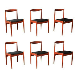 Danish Modern Teak Dining Chairs - Set of 6 - This is a set of six vintage Mid-Century teak dining chairs marked VM, Vamo Sonderborg. The seats have been professionally reupholstered in black faux leather. Great condition with age appropriate wear such as small nicks/marks mainly on the legs.