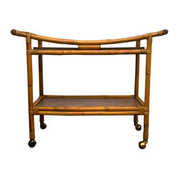 Mid-Century Rattan Bar Cart - 1950's-1960's all original rattan bar cart with two removable wood grain formica panels.