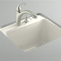 """KOHLER - KOHLER K-6663-3U-96 Glen Falls Undercounter Utility Sink with Three-Hole Faucet - KOHLER K-6663-3U-96 Glen Falls Undercounter Utility Sink with Three-Hole Faucet Drilling in BiscuitThe Glen Falls laundry sink offers traditional styling with a deep-basin design that fits most standard cabinets. Intended for undercounter installation, this model features durable KOHLER(R) Cast Iron construction for years of reliable performance.Please see our Delivery Notes for Freight Shipments for products that are oversized and/or are too heavy to ship UPS ground. KOHLER K-6663-3U-96 Glen Falls Undercounter Utility Sink with Three-Hole Faucet Drilling in Biscuit, Features:• 25""""L x 22""""W"""