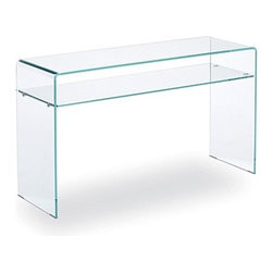 Sovet Italia - Sovet Italia   Bridge Hall Console Table With Shelf, 50x16 Inch - Design by Studio Sovet, 1988. Functional basics combine in harmony to create the 50 X 16 Hall Shelf Console Table. Focusing on core elements, Hall features a single shelf suspended by a sheet of bent glass results in a classic minimal piece. For a light an airy look opt for clear glass elements. For a pop of color, select a bold lacquered or plated frame with a clear shelf. Add simple lines and functionality to modern foyers and entryways with the 50 X 16 Hall Shelf Console Table. Clear and Extralight glass are distinguishable by the glass edge color. Traditional clear features a green tinted edge. Extralight glass is more transparent than traditional clear glass and features a clear blue tinted edge.