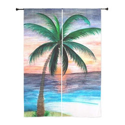 xmarc - Palm Tree Tropical Sheer Curtains, Sunset Palm - The windows have it with these sheer, decorative curtains. Romantic and flowing, these elegant chiffon window treatments finish a room with the perfect statement