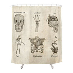 Meta-Anatomy Shower Curtain - This cool shower curtain doubles as a lesson in anatomy and metaphysics. Its vintage-inspired illustrations make it a natural part of cool apothecary style.