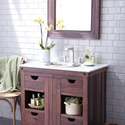 Cabernet Vanity by Native Trails - Made from wine-stained oaking staves used to flavor wine during the fermenting process. The finish is a result of the oak staves soaking in red wine for many months, infusing tannins and aroma while absorbing the color of the grapes. The Cabernet finish is enhanced by hand waxing to bring out the color and protect the wood.
