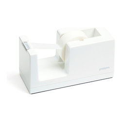 Poppin - Tape Dispenser, White - Let's dispense with formalities. You have trouble staying organized and your desk suffers from the style blahs. But this tape dispenser in your choice of eye-popping colors is bound to fix that. It features a weighted core, includes a free role of tape and coordinates with other desk accessories in the same line.