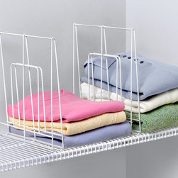 Closet Organization and Accessories - Organize your closet shelves with the Large Wire Shelf Divider. Ideal for straightening up your piles of bulky clothes, towels and linens, this divider easily clamps onto both wide and tight mesh wire shelves. Made of sturdy steel.