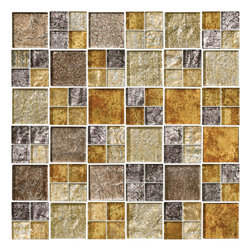 "Susan Jablon Mosaics - Silver Gold Taupe Metallic Glass Tile Mix - This glass tile blend is a stunning mix of 1"" and 2"" glass mosaic tiles. This stunning mix of metallic tiles ranges from silver to gold metallic glass tile tones. It is a perfect compliment to your quiet understated countertop in light ,taupe, gray or brown tones. The metallic foil earth and gold tones on this glass tile create an organic, reflective surface in every light.It is very easy to install as it comes by the square foot on mesh and it is very easy to clean! About a decade ago, Susan Jablon re-ignited her life-long passion for mosaics and has built a customer-focused, artist-driven, business offering you the very best in glass and decorative tiles and mosaics. We are a glass tile store committed to excellence both personally and professionally. With lines of 100% SCS Qualified recycled tile, 12 colors and 6 shapes of mirror, semi precious turquoise stones from Arizona mines, to color changing dichroic glass. Stainless steel tiles in 8mm and 4mm and 12 designs within each, and anything you can dream of."