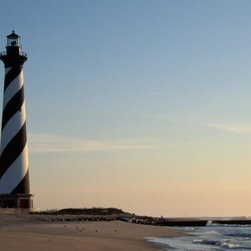 Wallmonkeys Wall Decals - Cape Hatteras Lighthouse at Sunrise Wall Mural - 72 Inches W x 48 Inches H - Easy to apply - simply peel and stick!